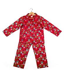 Hugsntugs Russian Doll Print Night Suit - Pink