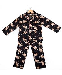Hugsntugs Reindeer Print Night Suit - Black