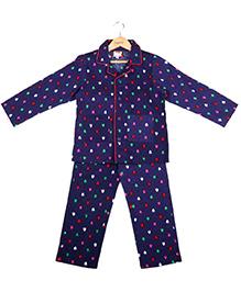 Hugsntugs Christmas Tree Print Night Suit - Navy Blue
