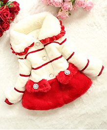 Awabox Warm Fur Coat With Bow Applique - Off White & Red