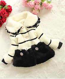 Awabox Warm Fur Coat With Bow Applique - Off White & Black