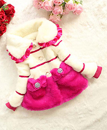 Awabox Warm Fur Coat With Bow Applique - Off White & Dark Pink