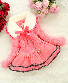 Awabox Flower Applique Warm Frilled Coat With Ribbon - Pink