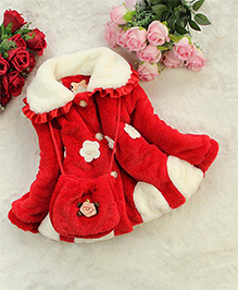 Awabox Flower Applique Trendy Fur Coat With A Sling Bag - Red