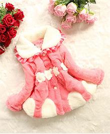 Awabox Flower Applique Trendy Fur Coat With A Sling Bag - Pink