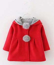 Pre Order - Awabox Bunny Ears Hoddie Style Coat - Red