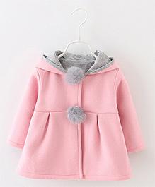 Pre Order - Awabox Bunny Ears Hoddie Style Coat - Pink