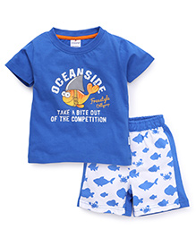 Ollypop Half Sleeves T-Shirt And Shorts Ocean Side Print - Blue White