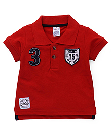 Ollypop Half Sleeves T-Shirt Numeric 3 Patch - Red