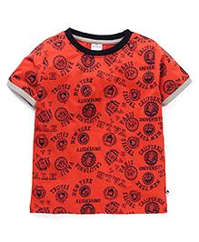 Ollypop Half Sleeves Printed T-Shirt - Carrot Red