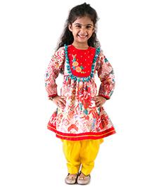 Tiber Taber Tropical Suit Set Kurta Salwar - Yellow & Red