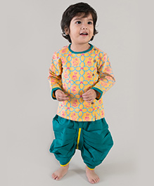 Tiber Taber Mouse Print Dhoti Kurta Set - Yellow & blue