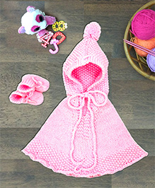 Magic Needles Hooded Poncho With Pom Pom & Booties Set - Pink