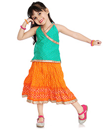 Little Pockets Store Halter Neck Top & Skirt Set - Orange