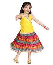 Little Pockets Store Halter Neck Top & Skirt Set - Yellow