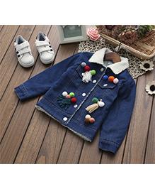 Pre Order - Awabox Pom Pom Denim Jacket - Blue