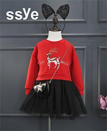 Pre Order - Awabox Dress With Deer Applique - Red