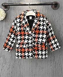Pre Order - Awabox Abstract Print Warm Jacquard Coat - Black