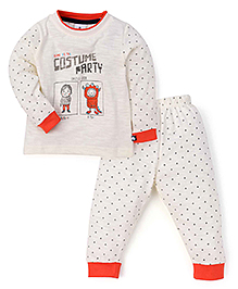 Ollypop Full Sleeves T-Shirt And Bottoms Costume Party Print - Off White