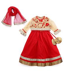 Saka Full Sleeves Choli With Ghagra And Dupatta - Red And Cream