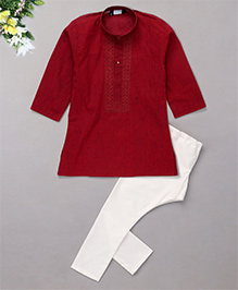 Babyhug Full Sleeves Embroidered Kurta And Pyjama Set - Deep Red