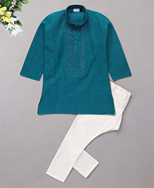 Babyhug Full Sleeves Embroidered Kurta And Pyjama Set - Green