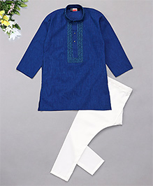 Babyhug Full Sleeves Embroidered Kurta And Pyjama Set - Dark Blue