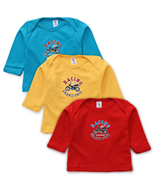 Cucumber Full Sleeves Racing Printed Vests Set Of 3 - Blue Red Yellow