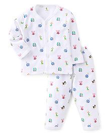 Cucumber Full Sleeves Vest And Pajama Animal Print - White Green