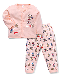 Cucumber Full Sleeves Vest And Pajama Play Time Print - Light Peach