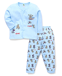 Cucumber Full Sleeves Vest And Pajama Play Time Print - Sky Blue