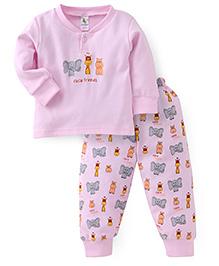 Cucumber Full Sleeves T-Shirt And Pajama Animal Print - Pink