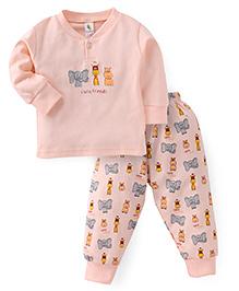 Cucumber Full Sleeves T-Shirt And Pajama Animal Print - Peach