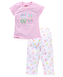 Babyhug Half Sleeves Top And Leggings Set Butterfly Print - Pink And White