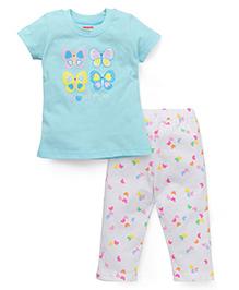 Babyhug Half Sleeves Top And Leggings Set Butterfly Print - Aqua And White
