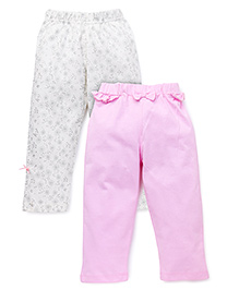 Babyhug Capri Printed And Solid Color Pack Of 2 - Off White Pink