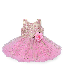 Bluebell Sleeveless Party Frock Floral Applique - Pink