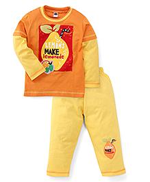 Teddy Full Sleeves Night Suit With Lemonade Print - Orange