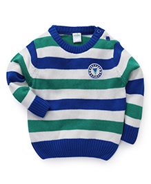 Babyhug Full Sleeves Stripes Pattern Sweater - Royal Blue And Green
