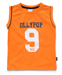Ollypop Sleeveless Printed Top - Orange