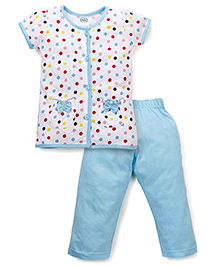 Babyhug Half Sleeves Dotted Top And Solid Color Pajama Night Suit - White And Blue