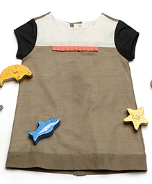 MilkTeeth Half-Sleeves Cotton Dress - Khaki Brown