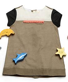 MilkTeeth Half-Sleeves Cotton Dress - Khaki Brown