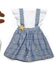 MilkTeeth Star Fish Suspender Skirt - Light Blue