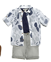 MilkTeeth Boy'S Fossil Shirt - White
