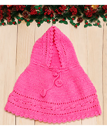 D'chica Sweet Hooded Woollen Poncho - Pink