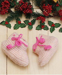 D'chica Sweet Ribbon Booties For Girls - Pink