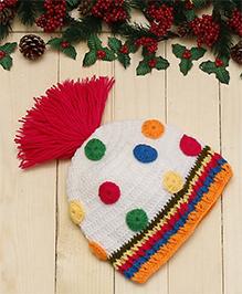 D'chica I Am Cute Colourful Woollen Cap - Multicolor