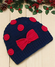 D'chica Chic Polka Dot Cap  - Blue & Pink