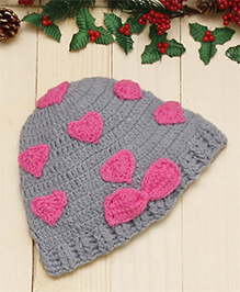 D'chica Chic Hearts Design Cap - Pink & Grey